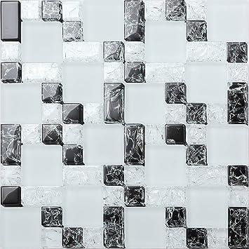 Glas Mosaik Fliesen Matte Steine In Drei Größen In Weiß Und Schwarz - Fliesen glasoptik