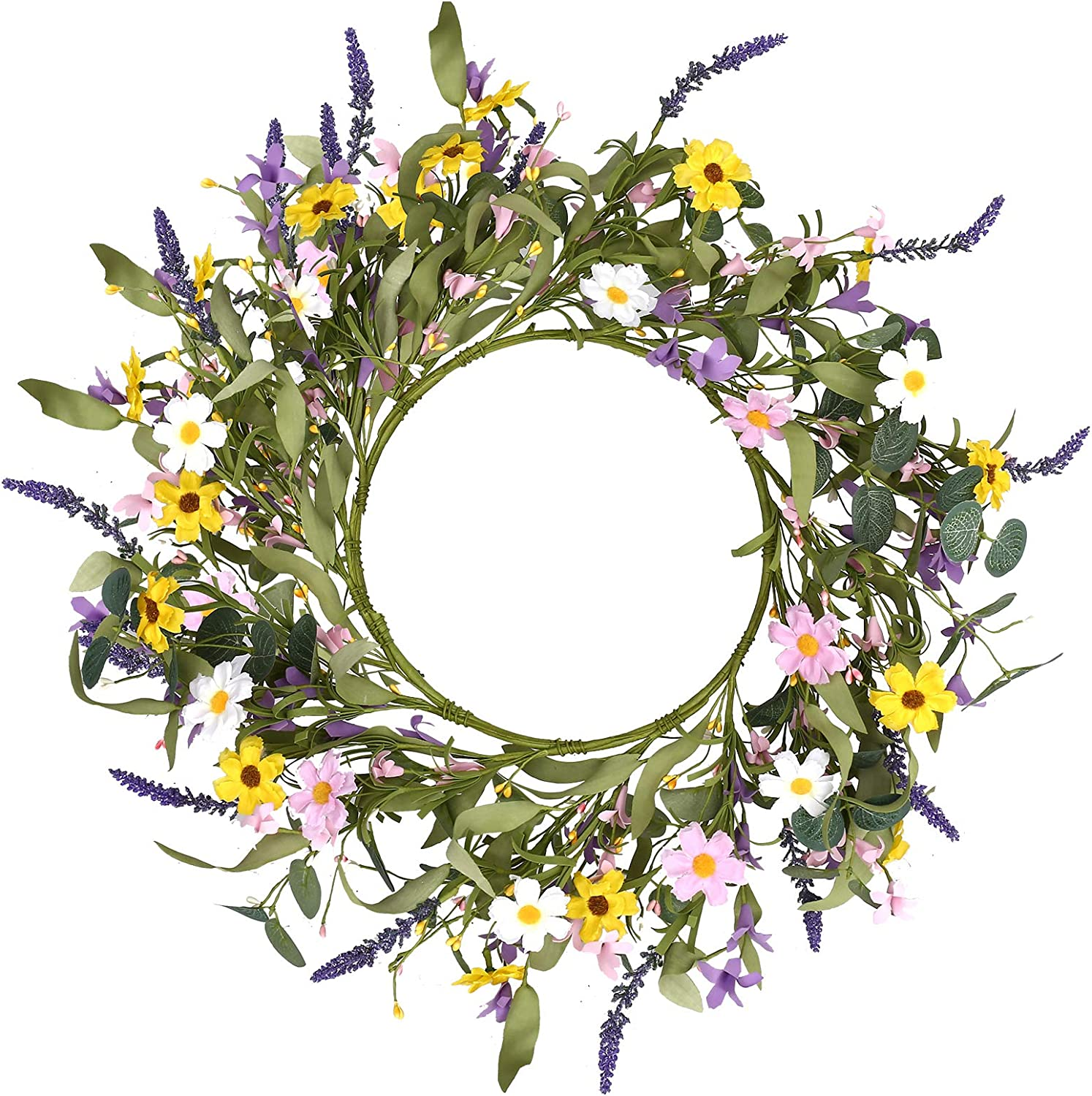 """Spring Flower Wreath,20"""" Artificial Floral Wreath Summer Daisy Lavender Wreath with Green Eucalyptus Leaves for Front Door Wall Window and Home Decor"""