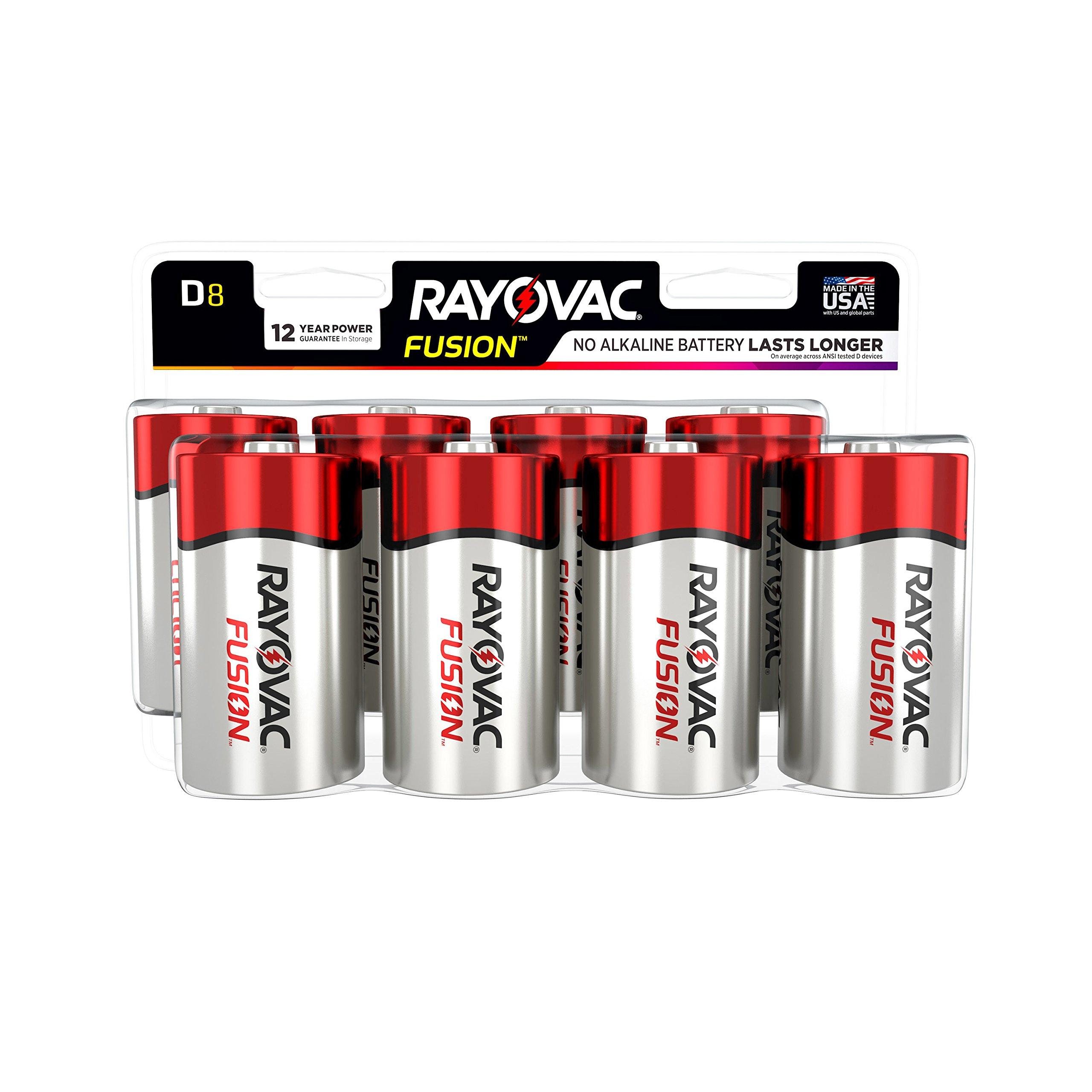 RAYOVAC D 8-Pack FUSION Premium Alkaline Batteries, 813-8LTFUSK