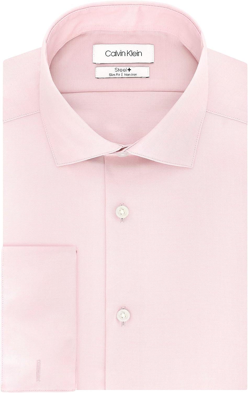 Calvin Klein Non Iron Slim Fit French Cuff Dress Shirt Camisa de Vestir, Rosa, S Cuello 37 cm, Manga 81/84 cm para Hombre: Amazon.es: Ropa y accesorios