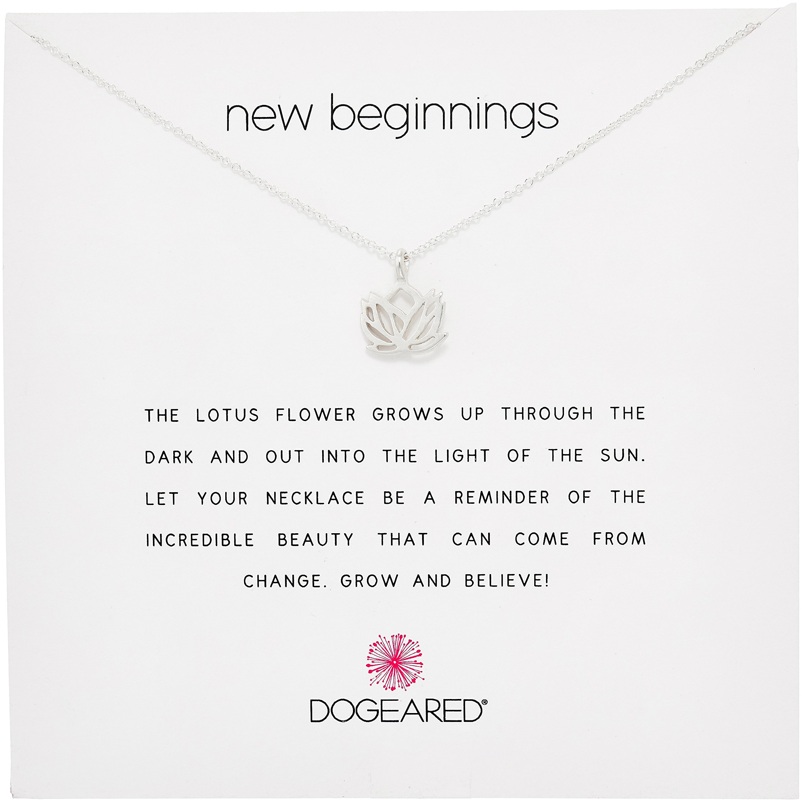 Dogeared Reminder New Beginnings Sterling Silver Rising Lotus Pendant Necklace, 16'' + 2'' Extender