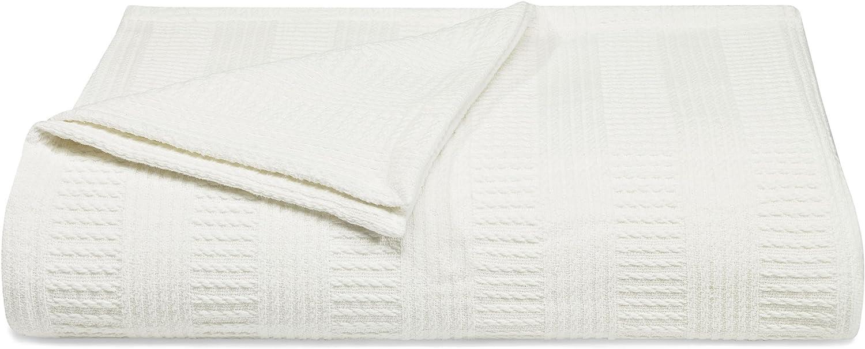 Nautica Rope Stripe Blanket Cotton, King, White