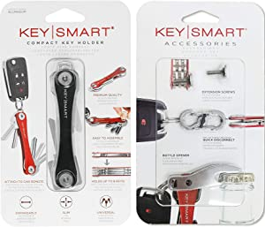 KeySmart - Compact Key Holder and Keychain Organizer w/Expansion Pack-14 Keys, Quick Disconnect and Bottle Opener (Black)