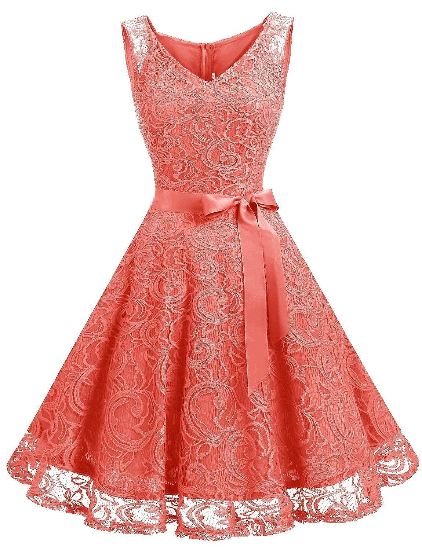 TALLA S. Dressystar Vestido Corto Elegante Mujer De Encaje Sin Mangas con Lazo para Madrina Fietsa Coral