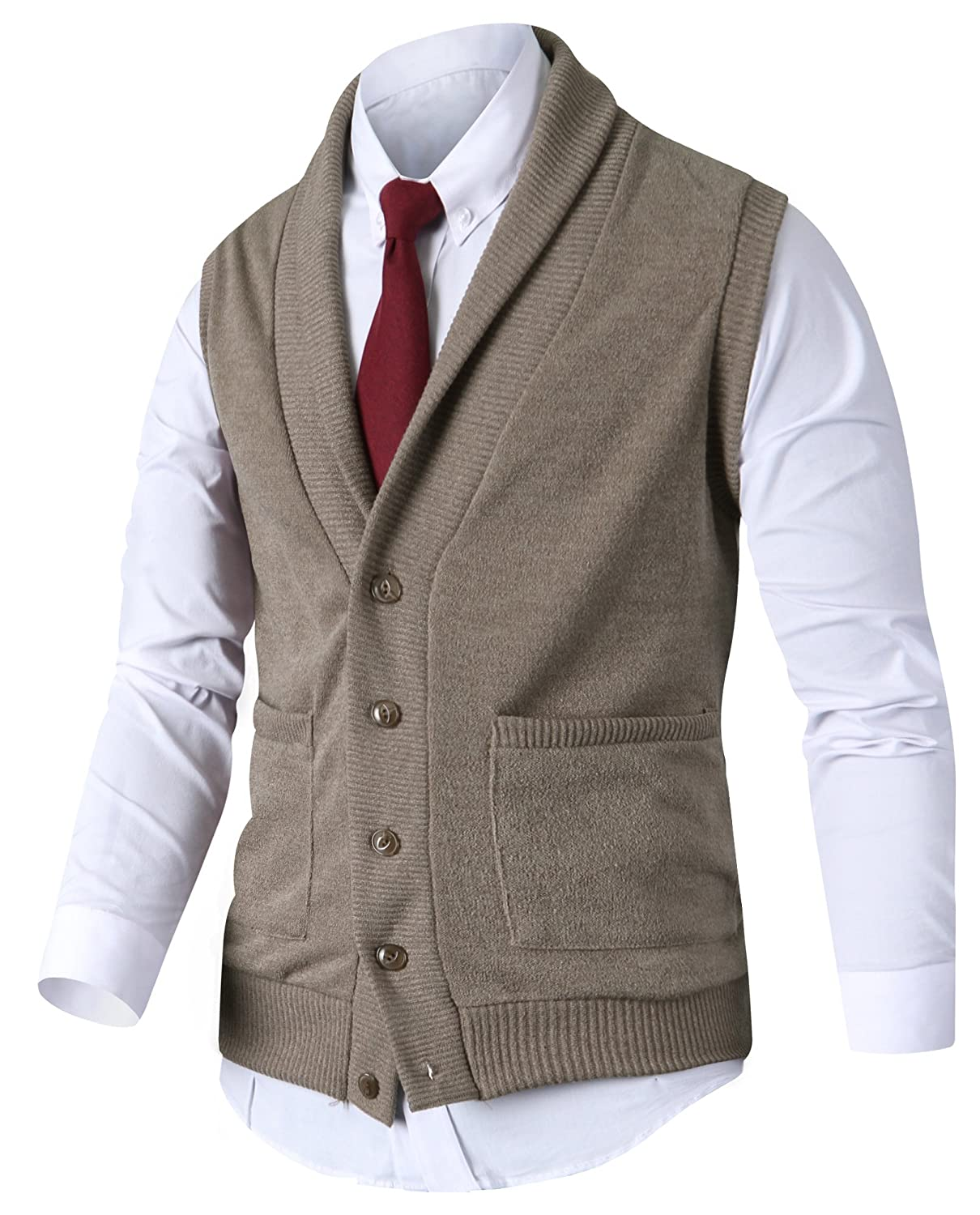 HARRISON83 Mens Slim Fit Shawl Knitted Pullover Sweaters Cardigan Vest