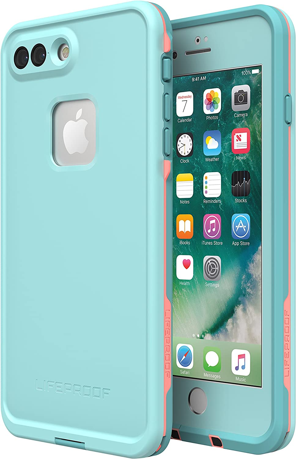 Lifeproof FRē Series Waterproof Case for Iphone 8 Plus & 7 Plus - Retail Packaging - Wipeout (Blue Tint/Fusion Coral/Mandalay Bay)