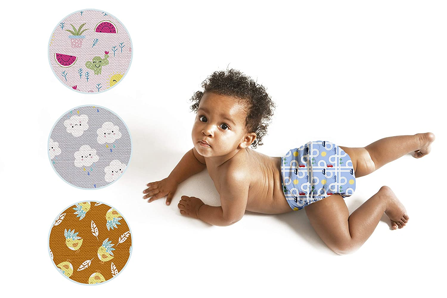Hypoallergenic GOTS Organic Certified Reusable Nappy All-in-One + Booster | Certifications: Oeko 100, GOTS, Flammability 16 CFR, ISO/TR 1182 | Double Leg Gusset | Cloth Nappies | Washable | EU Brand