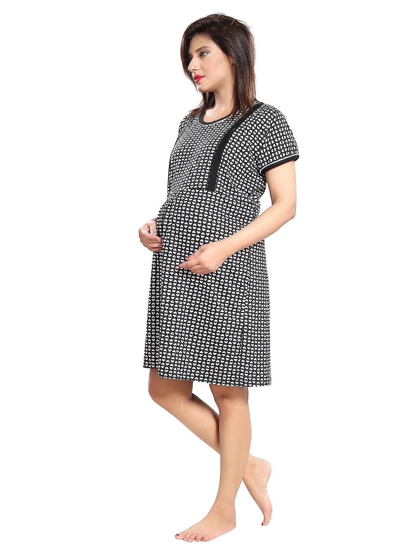 TUCUTE Women s Hosiery Short Feeding Nursing Maternity Nighty Nightwear  Nightdress with Floral Print Size  L-40   XL-44 (Black Heart ee8627f13