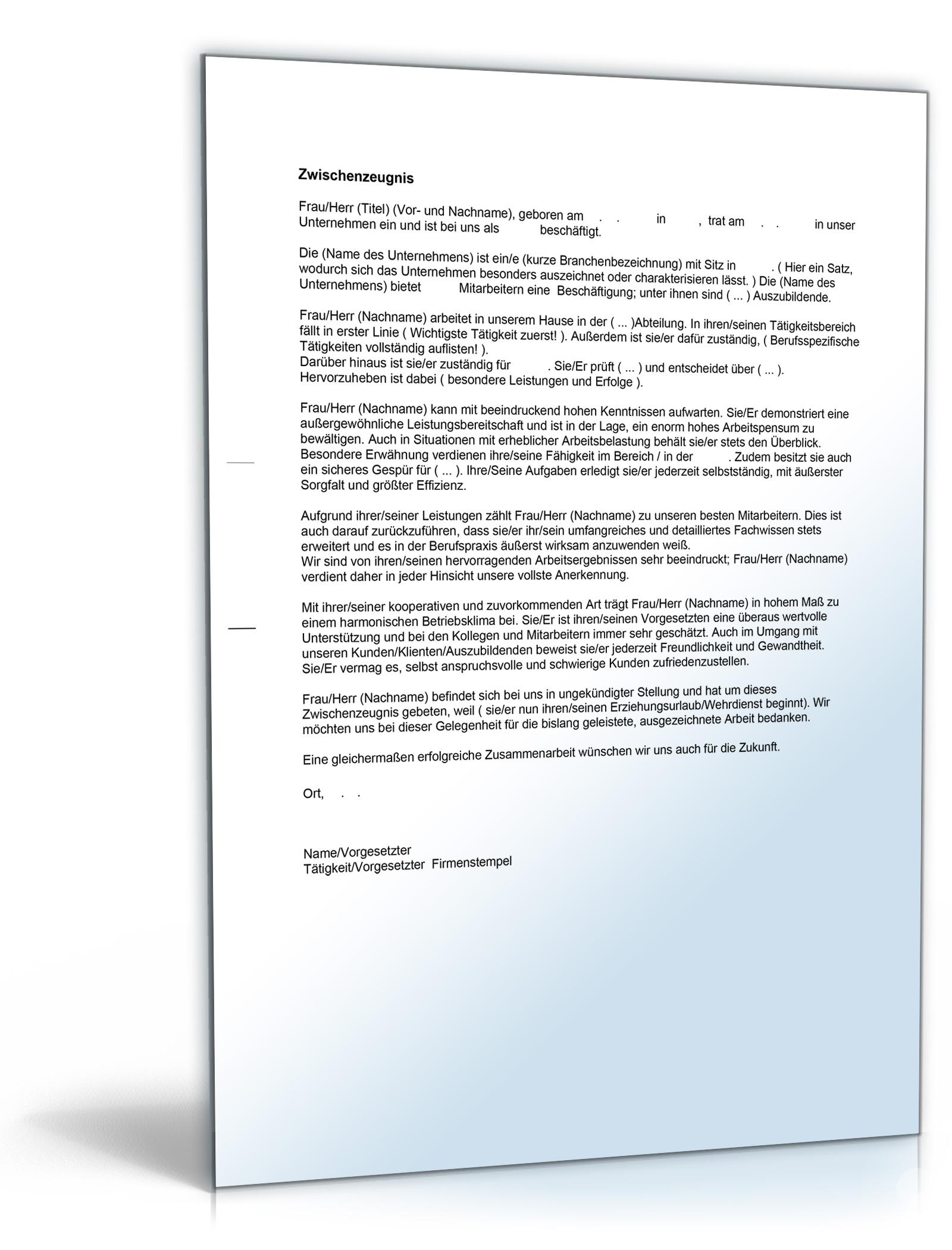 Zwischenzeugnis Note Eins Word Dokument Download Amazonde