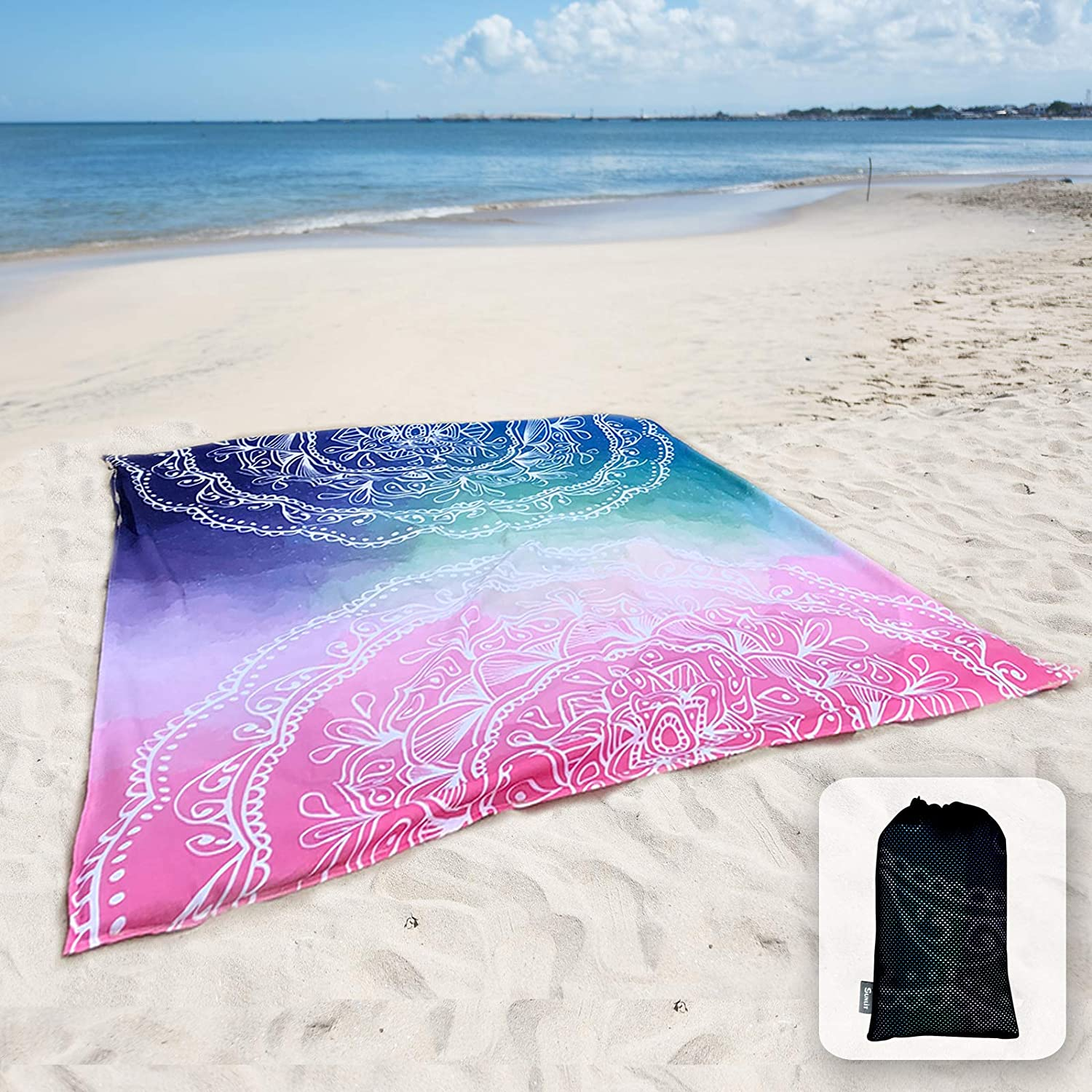 Sunlit Silky Soft Sand Proof Beach Blanket Sand Proof Mat with Corner Pockets and Mesh Bag for Beach Party Travel Mandala Camping and Outdoor Music Festival