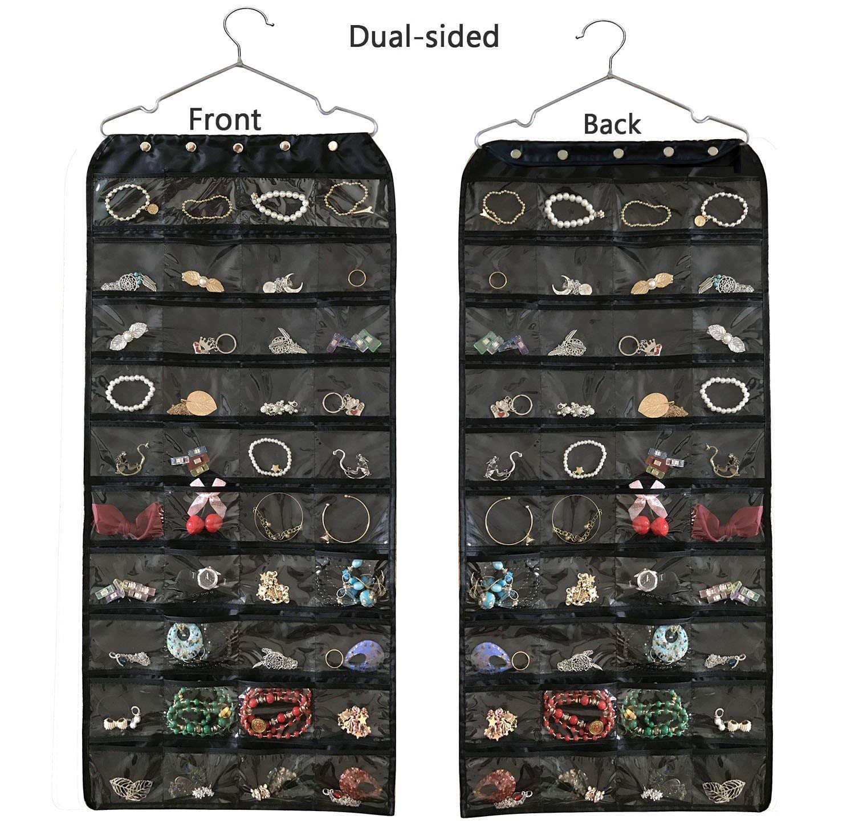 Brotrade Hanging Jewelry Organizer,Accessories Organizer,Oxford 80 Pocket Organizer For Holding Jewelries (Black)
