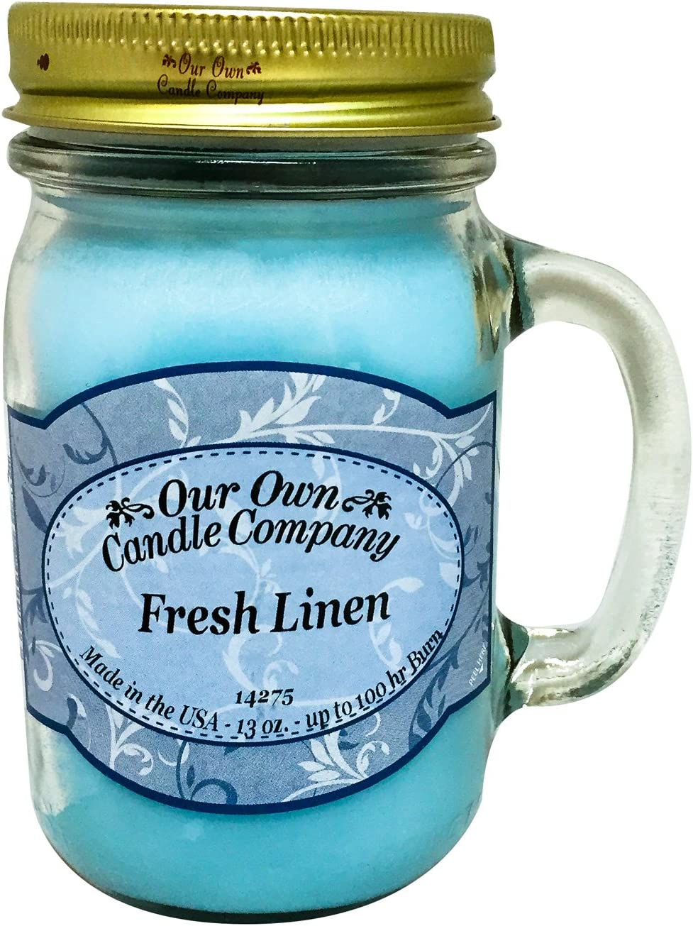 Our Own Candle Company Fresh Linen Scented 13 Ounce Mason Jar Candle