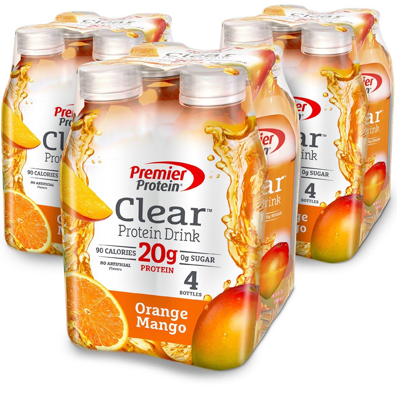 Premier Protein Clear  Drink, Orange Mango, 16.9 fl oz Bottle, (12 Count)