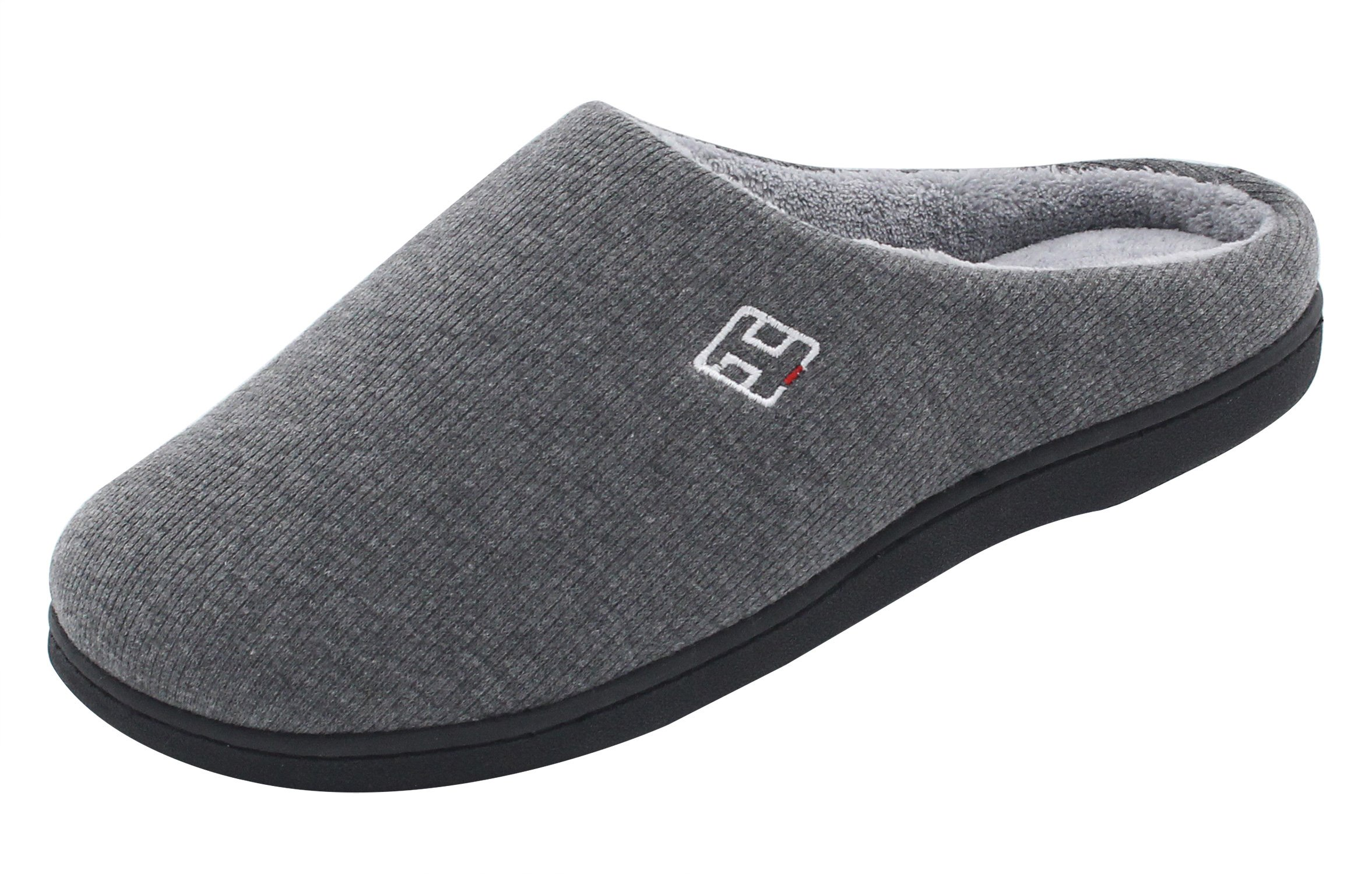 HomeIdeas Men's Cotton Memory Foam Anti-Slip Slip On House Slippers (Small/7-8 D(M) US, Gray) by HomeIdeas