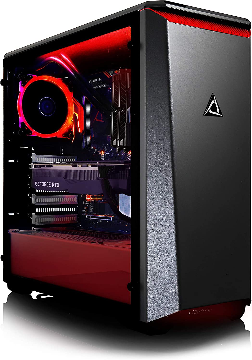CLX Set - Elite Gaming Desktop PC - Liquid-Cooled Intel Core i7 9700K 3.6GHz 8-Core, Z390 ATX, 16GB DDR4, GeForce RTX 2080 8GB, 960GB SSD + 3TB HDD, Black/Red Mid-Tower Red Fans, Windows 10 Home