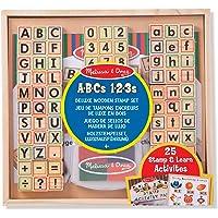 Melissa & Doug 40118 Stempelset met letters en cijfers van hout