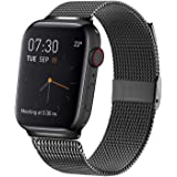 MCORS Compatible with Apple Watch Band 44mm 42mm,Stainless Steel Mesh Metal Loop with Adjustable Closure Replacement Bands for Iwatch Series 5 4 3 2 1 Black