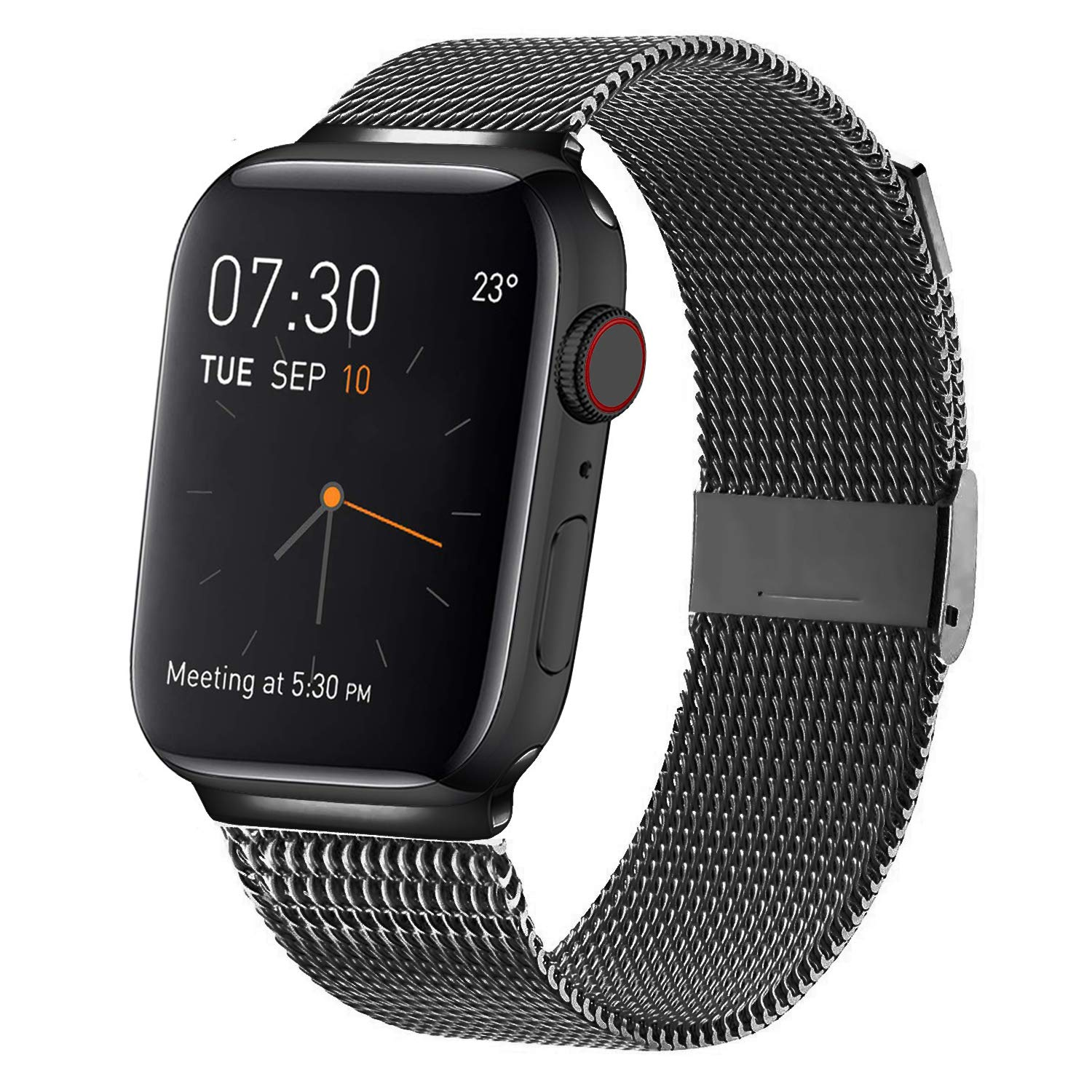 MCORS Compatible with Apple Watch Band 44mm 42mm,Stainless Steel Mesh Metal Loop with Adjustable Magnetic Closure Replacement Bands for Iwatch Series 4 3 2 1 Black by MCORS