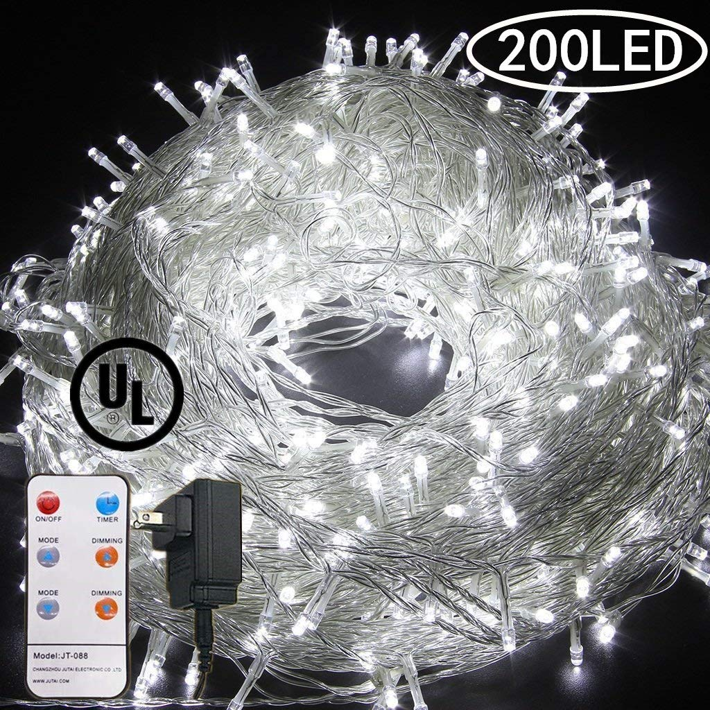 72 FT 200 LED Fairy Lights Plug in String Lights 8 Modes Twinkle Starry Light Waterproof Indoor Outdoor Firefly String Light for Tree Wedding Party Bedroom white
