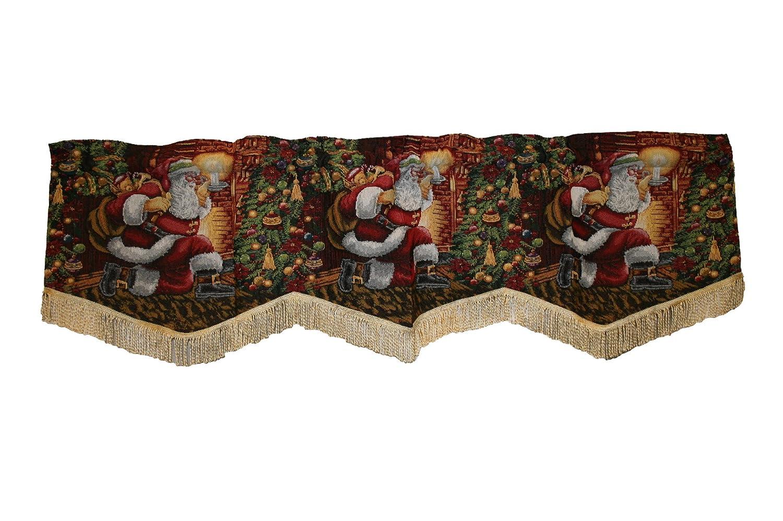 Christmas valances - Amazon Com Violet Linen Decorative Christmas Tapestry Window Valance 60 X 15 Home Kitchen