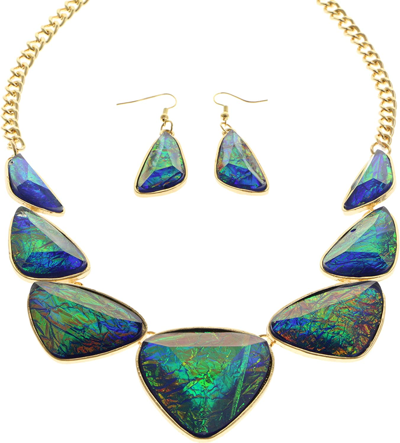Iridescent Squared Shell-Beaded Gold-tone NecklaceEarrings