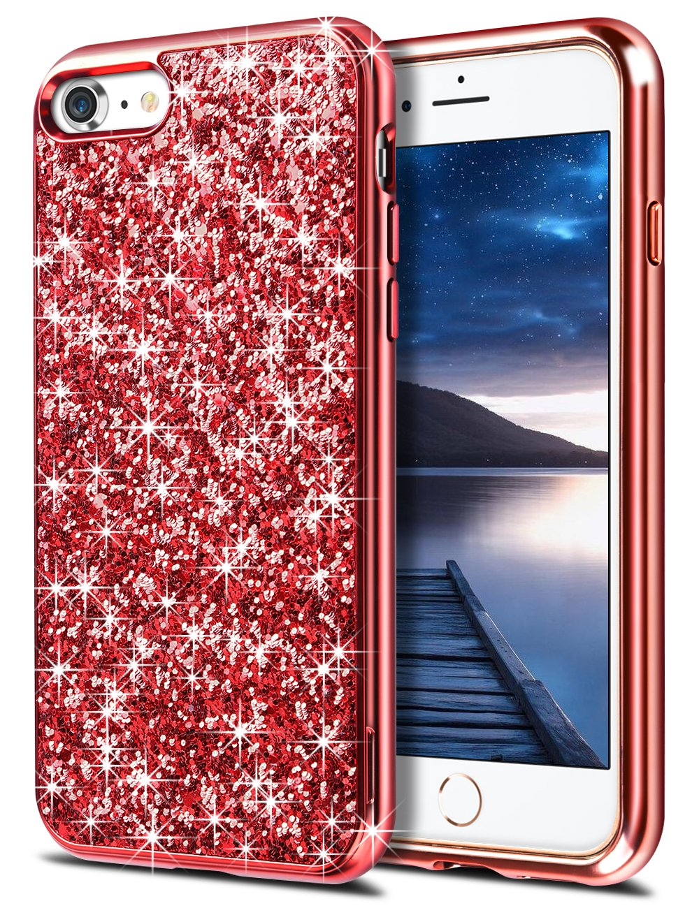 iPhone 6s Plus Case, Aemotoy Glitter Bling Sparkle iPhone 6 Plus Case Anti-scratch Protective Shell 2 in 1 Hybrid Shockproof Solid Sequin Shining Slim Phone Case Cover For iPhone 6 Plus/6s Plus - Red