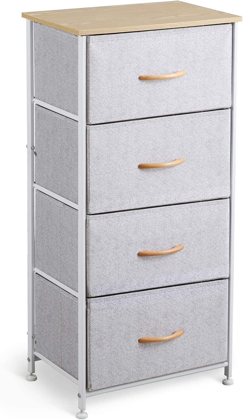 McNeil 4 Drawers Fabric Dresser Vertical Storage Tower Organizer Unit for Bedroom Office Laundry Closet Entryway Hallway Nursery Room, Gray