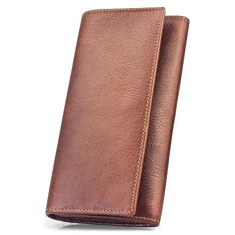 BAGZY Hombre Cuero Billetera Cartera de Cuero iPhone 8 Plus Monedero Suave Genuino Portatarjetas Credito Monedero