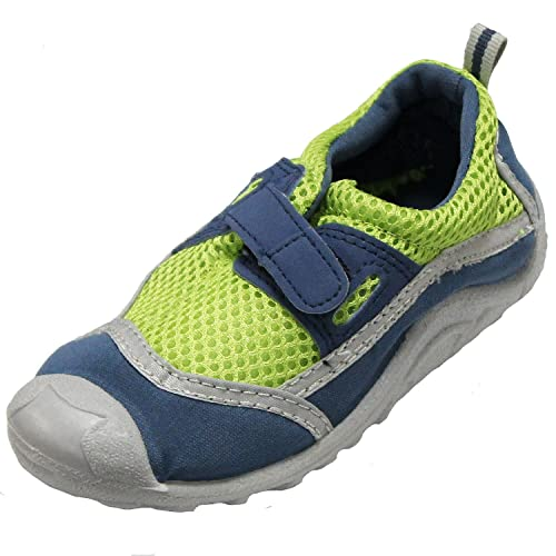 8b37f1ab1 Green and Navy Blue Kids' Swim Shoes with Antimicrobial Insoles - Size 5