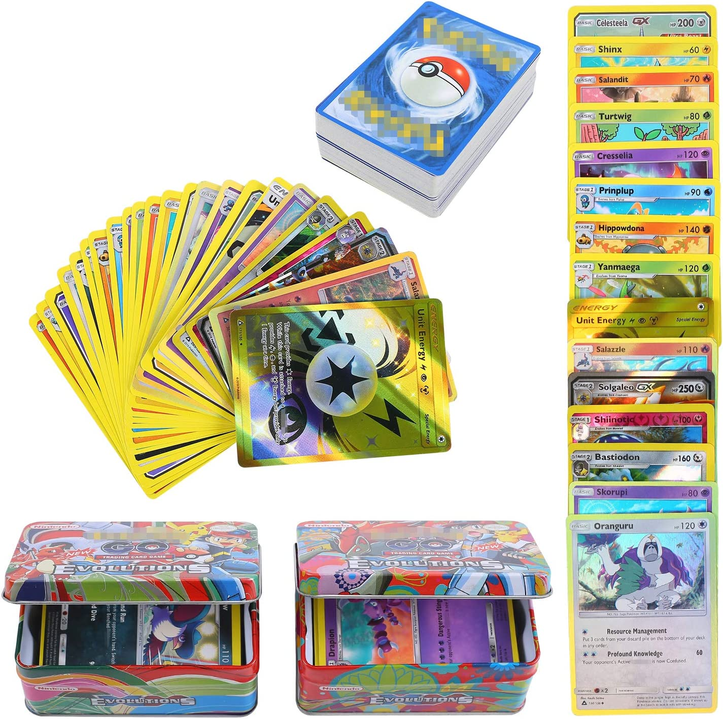 YNK 84 Piezas Pokemon Cartas Sun & Moon, Teamup, Tarjetas de Pokemon, Pokemon Trading Cards, Juego de Cartas, Cartas Coleccionables, GX, EX, Trainer Cartas (1)