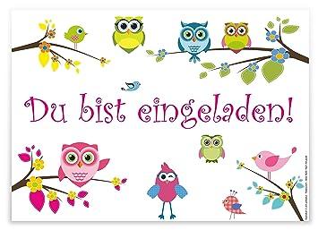 12 Lustige Und Fröhliche Einladungskarten Zum Kindergeburtstag  U0026quot;Eulenu0026quot; / Geburtstagseinladungen Einladungen Geburtstag Kinder