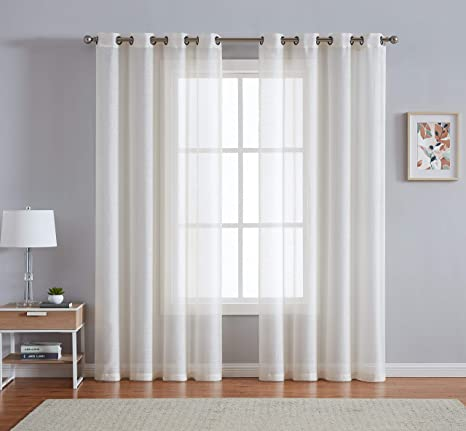 Amazon Com Linenzone Grommet Semi Sheer Curtains 2 Pieces Total Size 108 Inch Wide 54 Inch Each Panel 84 Inch Long Panels Beautiful Elegant Natural Light Flow Material 54