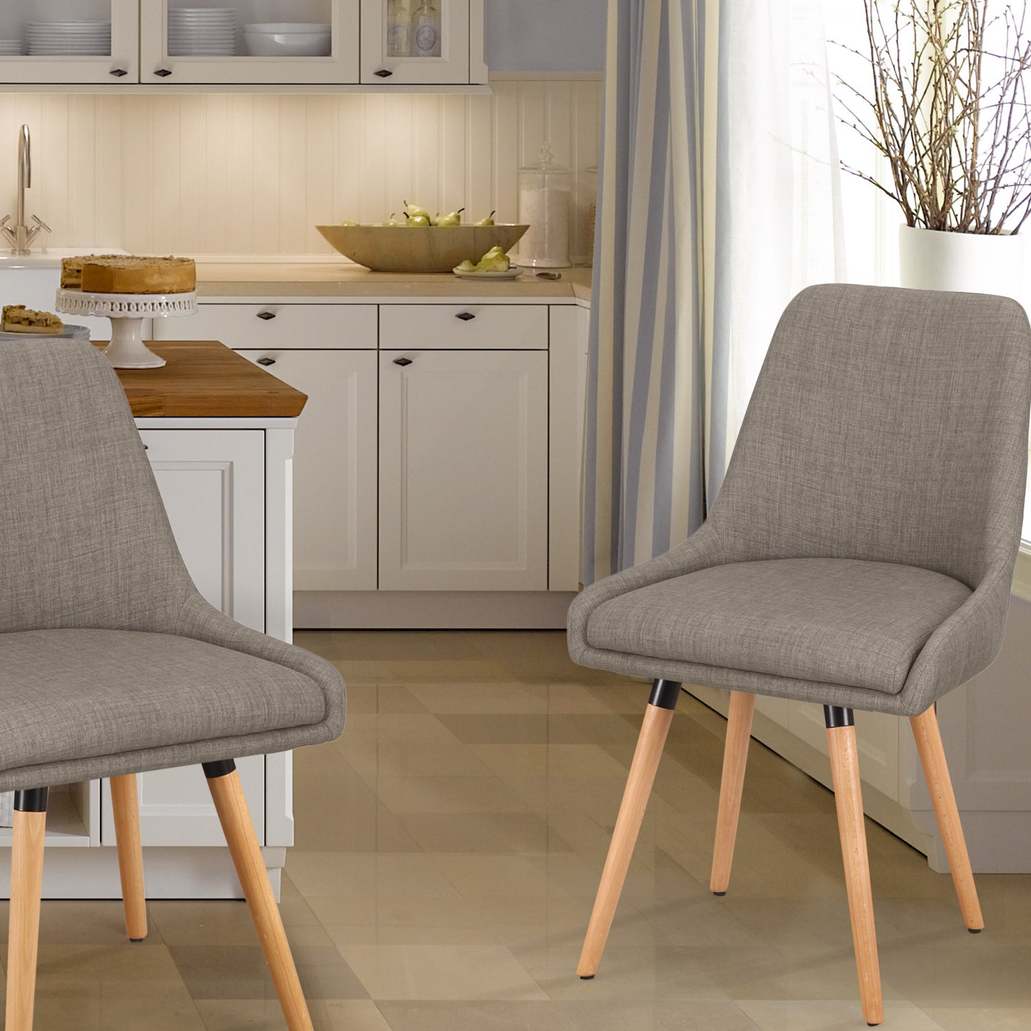 Homebeez Fabric Mid-century Modern Accent dining Chair