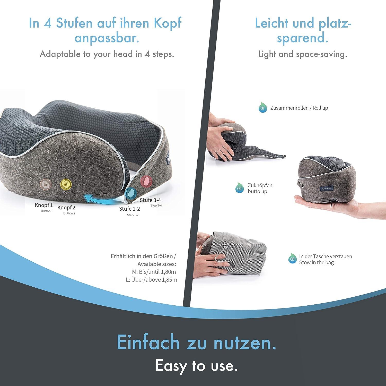 Coussin de Voyage id/éal pour lavion Coussin de Nuque pour Homme avec Design en V brevet/é pour Une Meilleure stabilisation Respirant. la Voiture ou Le Bus