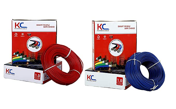 D'Mak� KC Cab PVC Insulated Wire 1. SQ/MM Single Core Flexible Copper Wires for Domestic/Industrial Electric 90 Meter Coil (Red and Blue, Pack of-2)