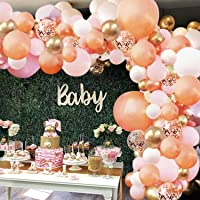 Rose Gold Balloon Garland Arch Kit - 152 Pieces Rose Gold Pink White and Gold Confetti Latex Balloons for Baby Shower Wedding Birthday Graduation Anniversary Bachelorette Party Background Decorations