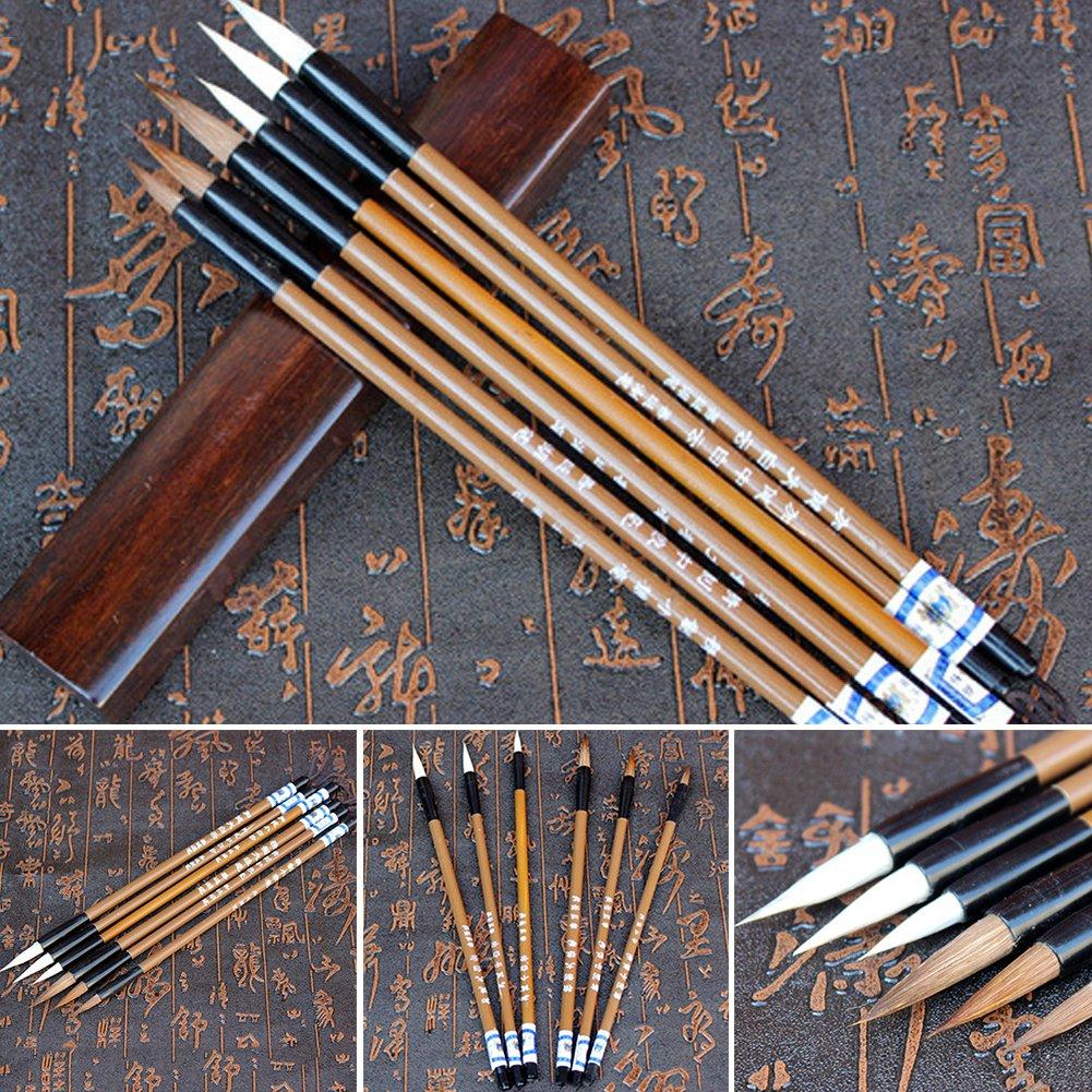 NANAD Set di 6 pennelli per Scrittura e Calligrafia Cinese Ideali per Studenti di Scuola a Forma di Nuvole Calligrafia