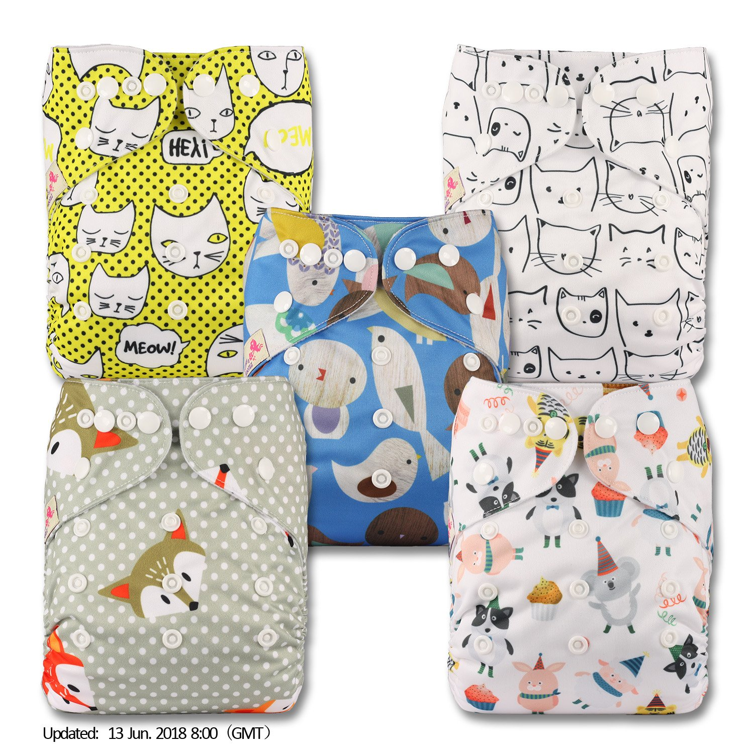 LittleBloom, Reusable Pocket Cloth Nappy, Fastener: Popper, Set of 5, Patterns 508, With 5 Bamboo Inserts Littles & Bloomz