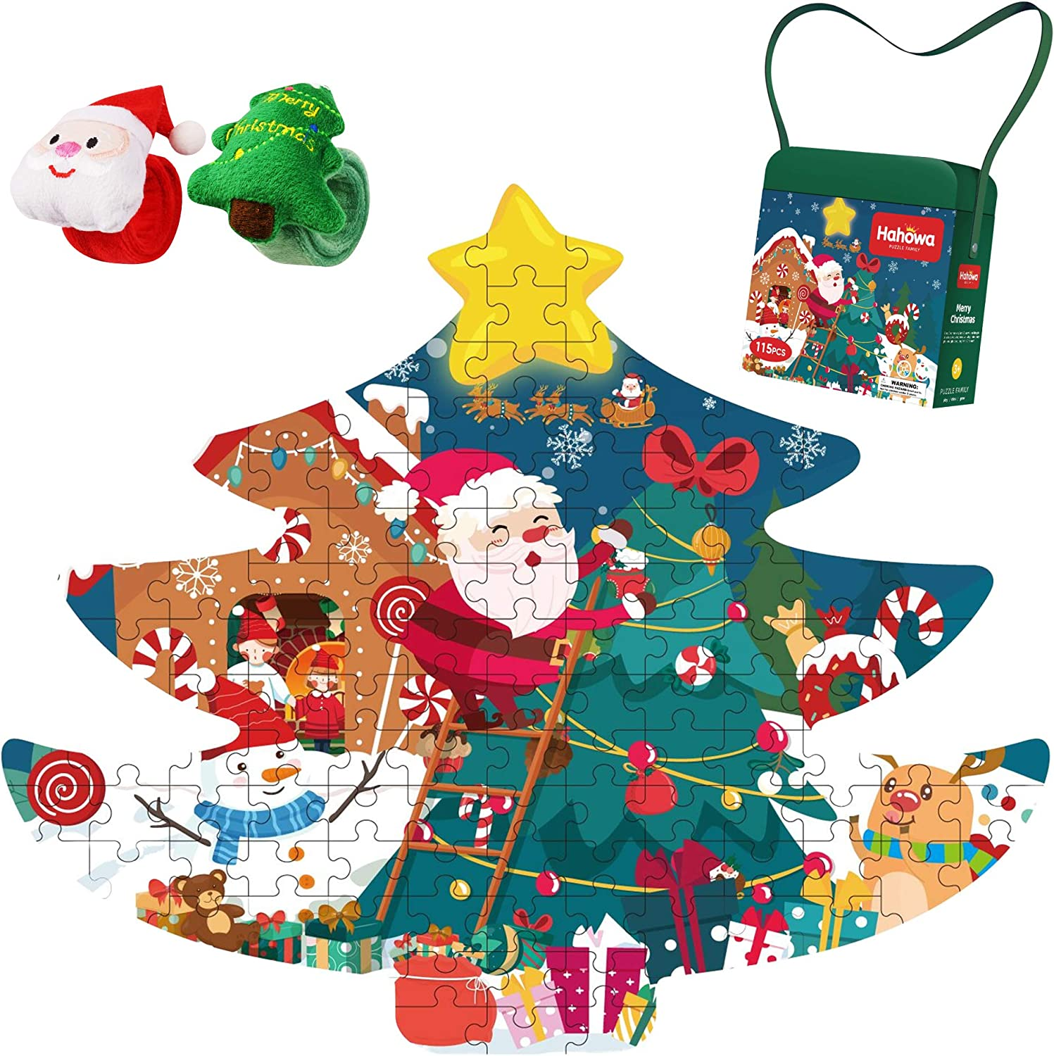 Christmas Puzzles for Kids, 100 Piece Jigsaw Puzzles with Gift Box, Christmas Theme, Ideas Toys for Christmas, Educational Toy for Kids, Santa Claus & Christmas Tree & Reindeer
