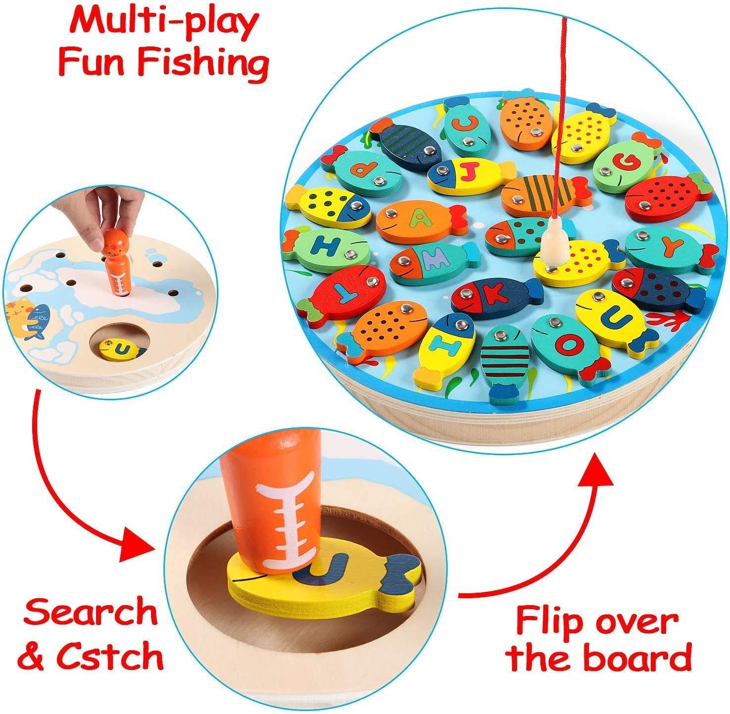 Magnetic Wooden Fishing Game Toy for Toddlers Alphabet Fish Catching Counting Preschool Board Games Toys for 2 3 4 Year Old Girl Boy