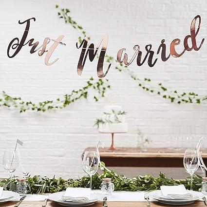Ginger Ray Just Married Rose Gold Hochzeit Wimpelkette Banner Schöne Botanics