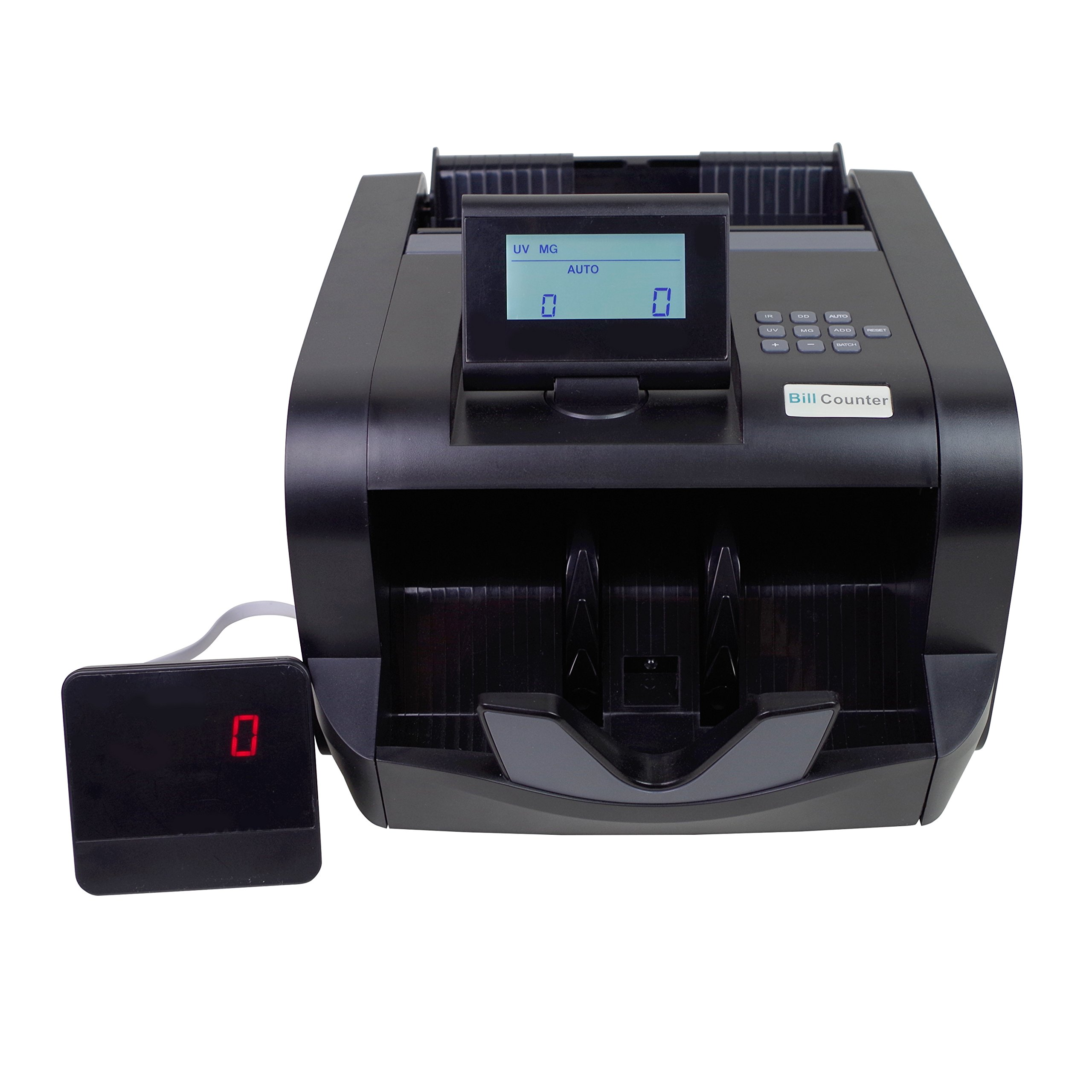 Bill Counter Black LCD Money Counting Cash Machine Counterfeit Detector UV / MG Banknote Side LCD Display By Spreezie