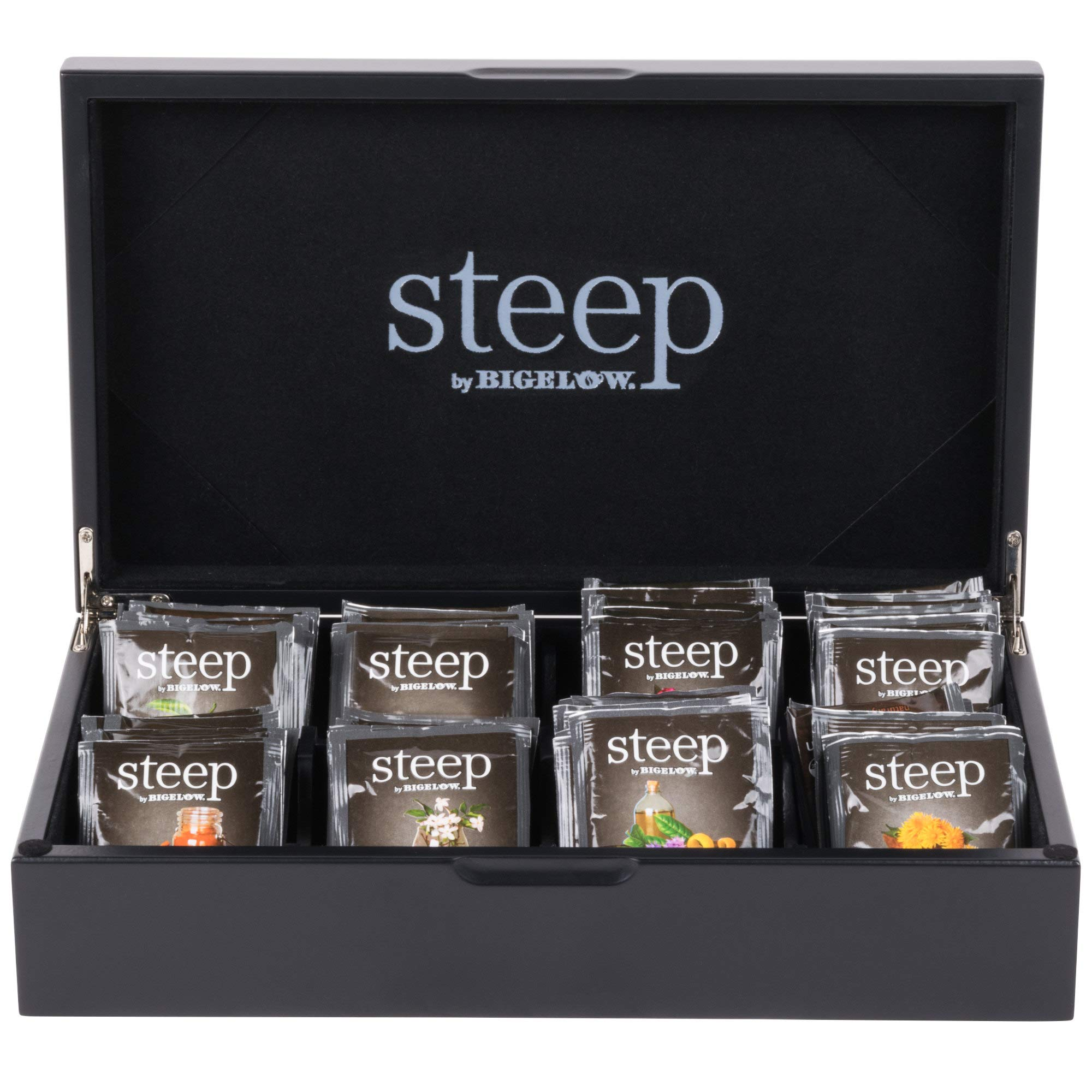 TableTop King 8 Compartment Black Tea Chest with Assorted Organic Teas