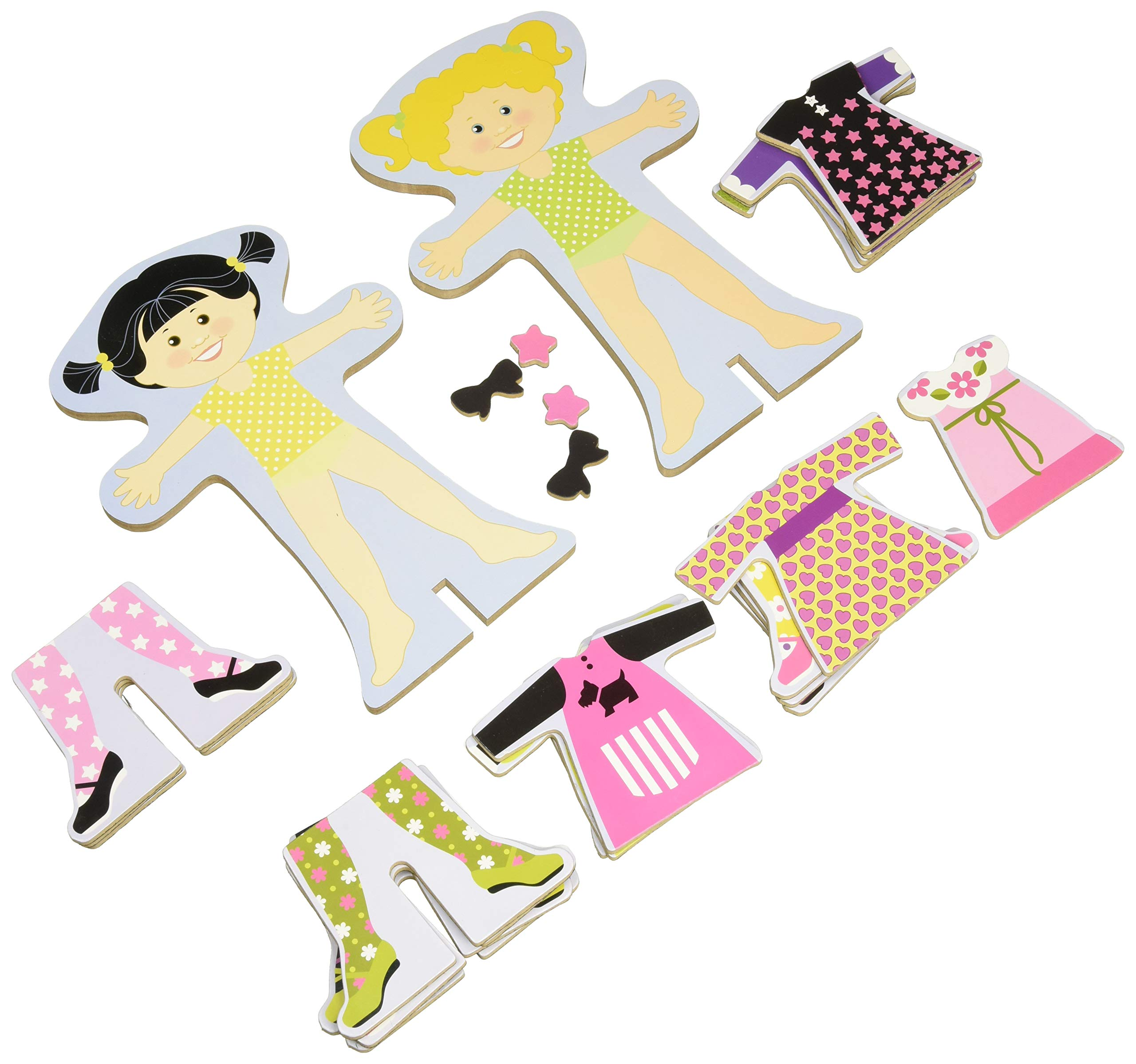 Melissa & Doug Tops And Tights Magnetic Dress-up Wooden Doll Pretend Play Set