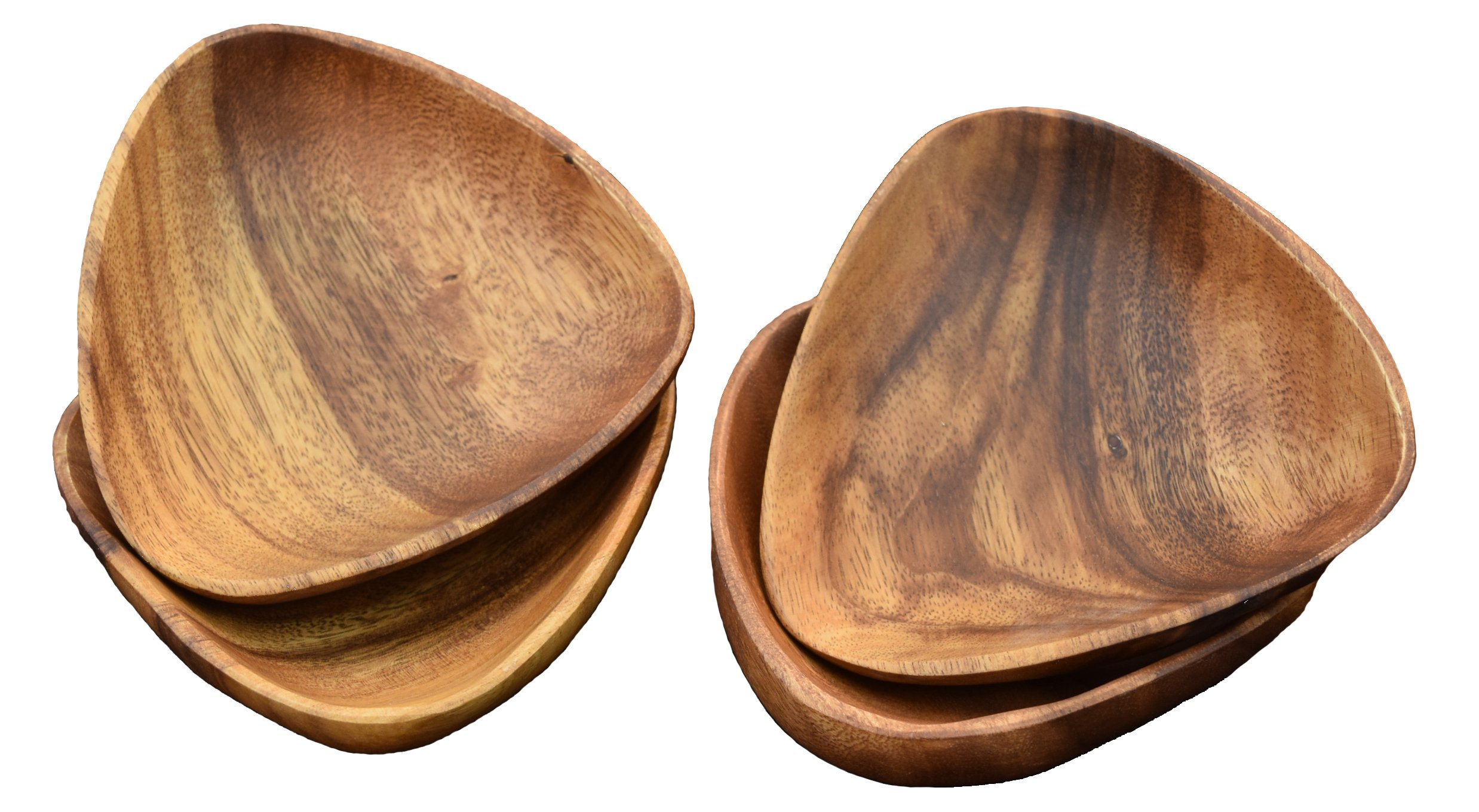 Pacific Merchants Acaciaware Dipping And Nut Bowls, 4 inches by 4 inches by 1-1/2, Set Of 4