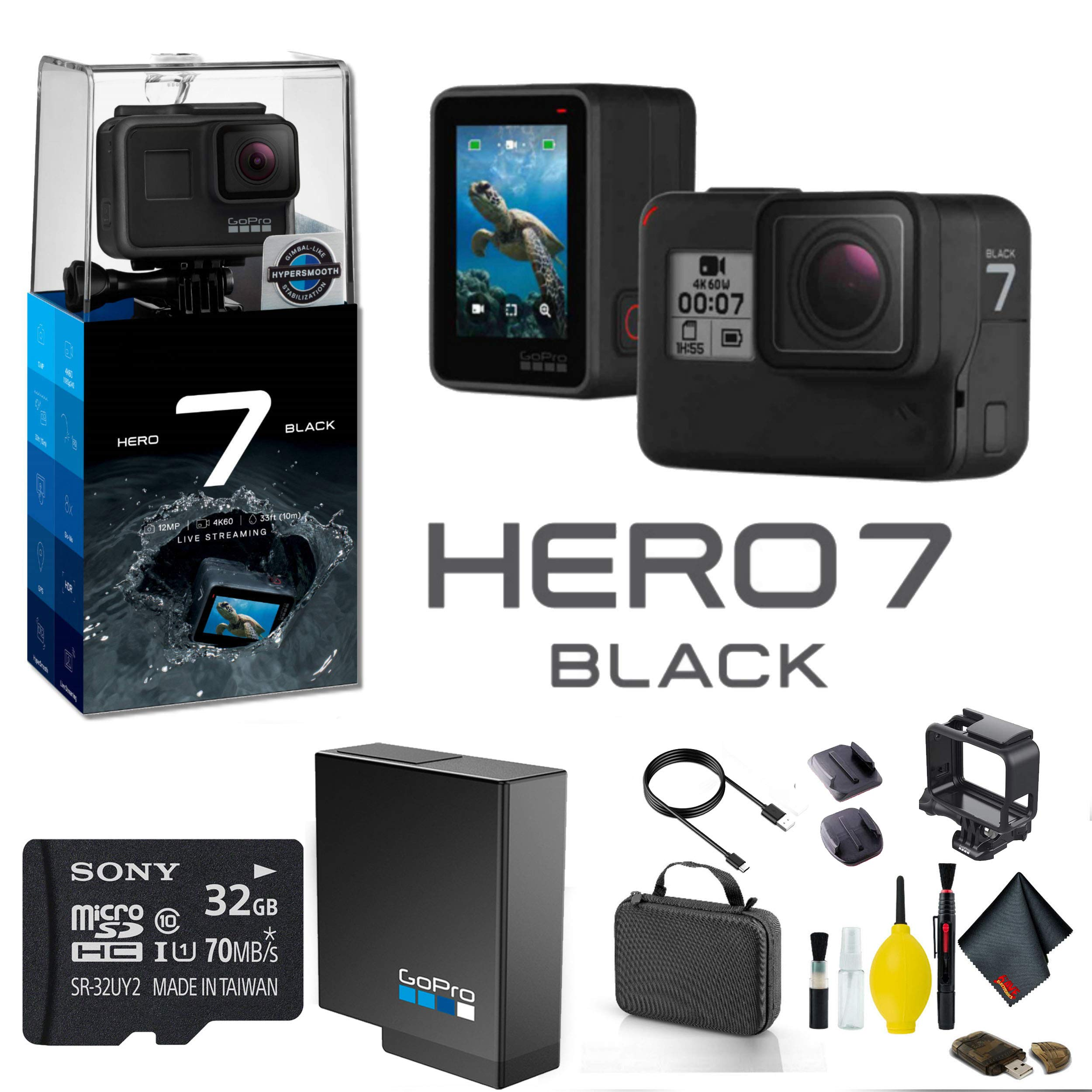 GoPro HERO7 Black Action Camera with 32GB Memory Card Case Cleaning Kit and More - GoPro Bundle