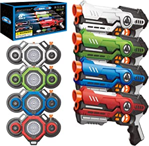 AMOSTING Laser Tag Guns with Fog Effect Vests Set of 4,Indoor Outdoor Fun Toy Gift for Kids Age 8+