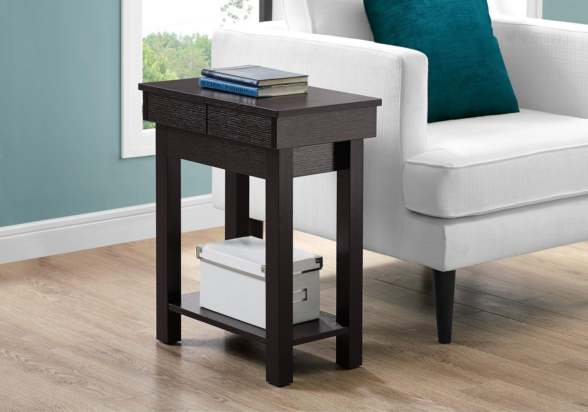 Monarch Specialties ACCENT TABLE - 24'' H/CAPPUCCINO WITH STORAGE
