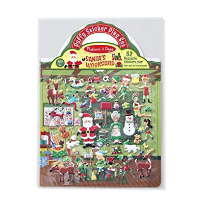 Melissa & Doug Puffy Sticker Play Set, Santa's Workshop (Reusable Activity Book, 52 Stickers, Great for Travel, Great Gift for Girls and Boys – Best for 4, 5, 6, 7 and 8 Year Olds): Toy: Toys & Games
