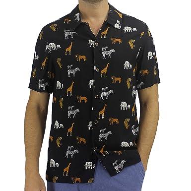 5038829b ROCK ATOLL Mens Safari Animal Lion Zebra Novelty Print Button-Down Hawaiian  Shirt in Small